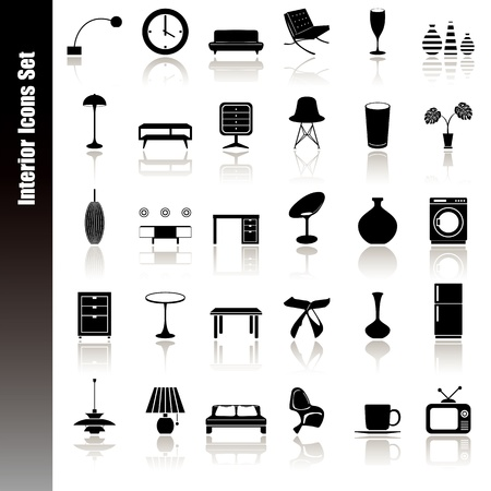 Interior icons set. Illustration vector. Stock Vector - 9326552