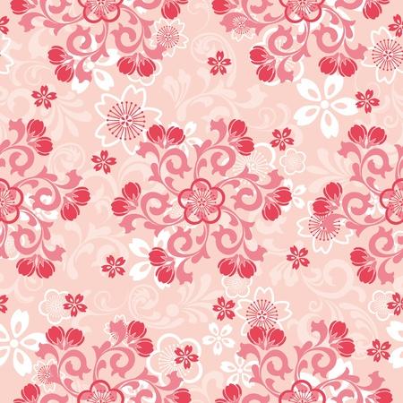 Seamless cherry blossoms pattern. Illustration vector. Vector
