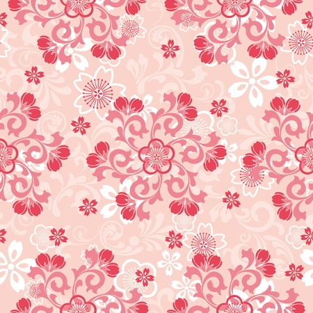 japanese flower: Seamless cherry blossoms pattern. Illustration vector. Illustration
