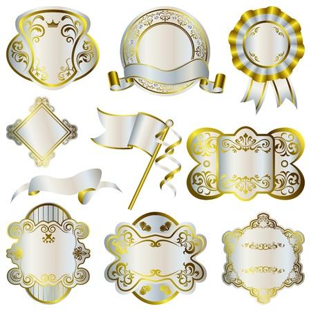 corona navidad: Conjunto de marcos de oro y plata de lujo   Vectores