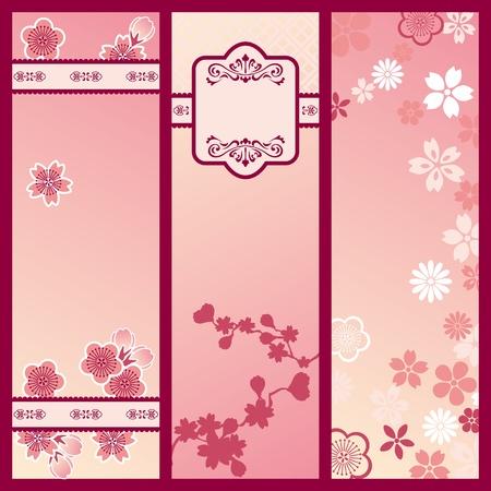 Banner di fiori di ciliegio. Illustrazione vettoriale.