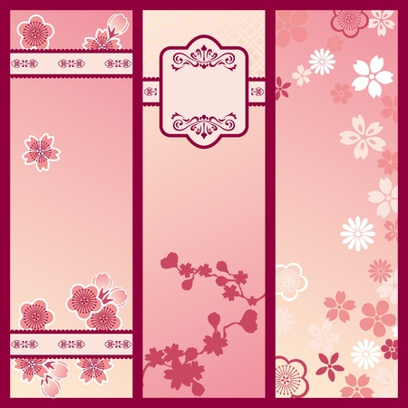 Cherry blossom banners. Illustration vector.  Vector