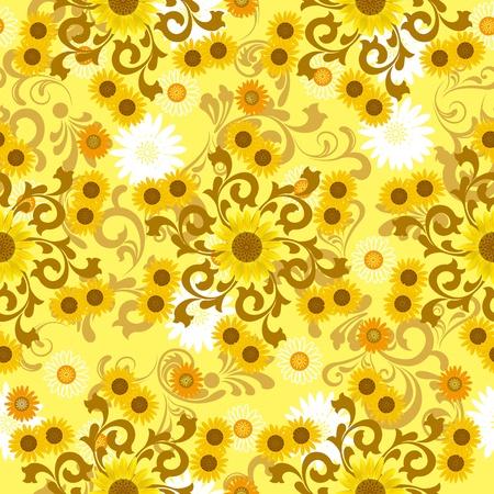 ヒマワリのシームレスなパターン。イラスト ベクトル