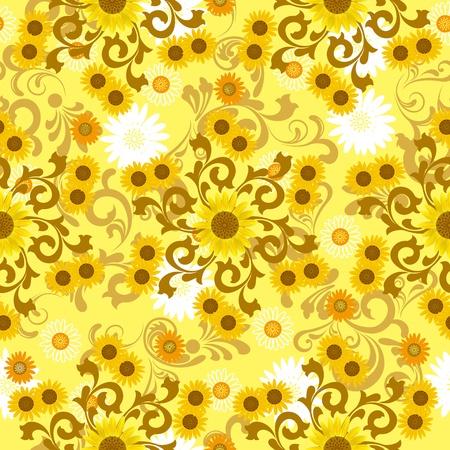 Seamless sunflower pattern. Illustration vector Vector