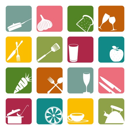 kitchen tool: Food square icons set. Illustration vector.