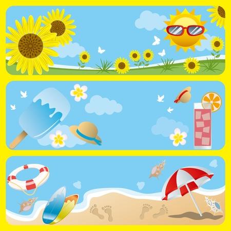 여름 배너를 설정합니다. 그림 벡터입니다.