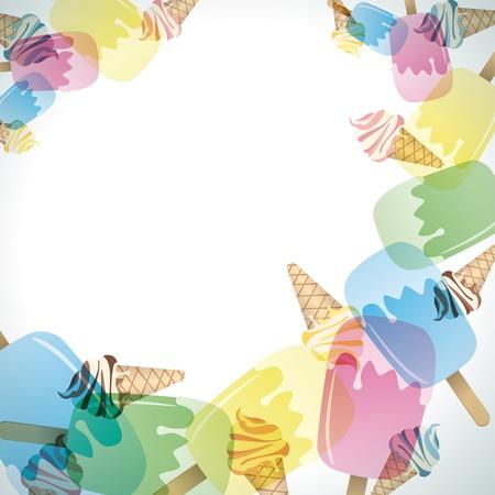 Ice cream frame. Illustration vector.