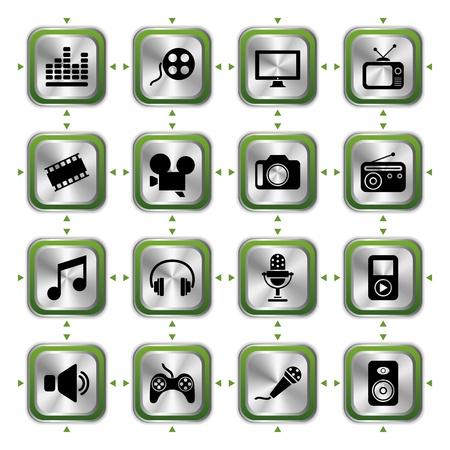 Multimedia icons set HL. Illustration vector Vector