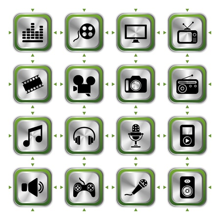Multimedia icons set HL. Illustration vector Vector