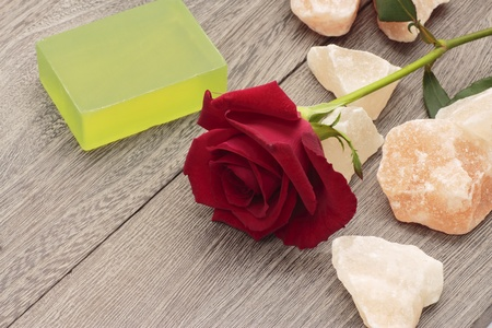 Red rose and rock salt photo