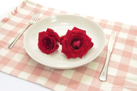 Rose on white dish photo