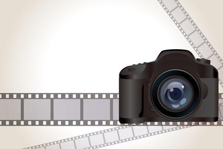 film shooting: Camera and film background. Illustration .
