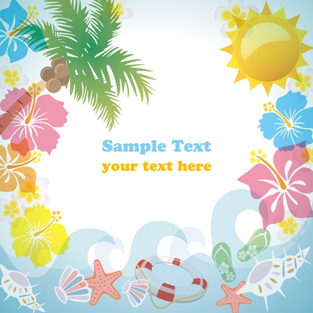 Summer frame. Illustration vector. Stock Vector - 9518078