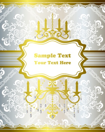 Chandelier gold and silver frame. Stock Vector - 9550611