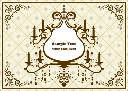 Chandelier brown frame. Vector