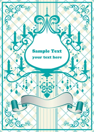 Chandelier blue frame. Stock Vector - 9550608