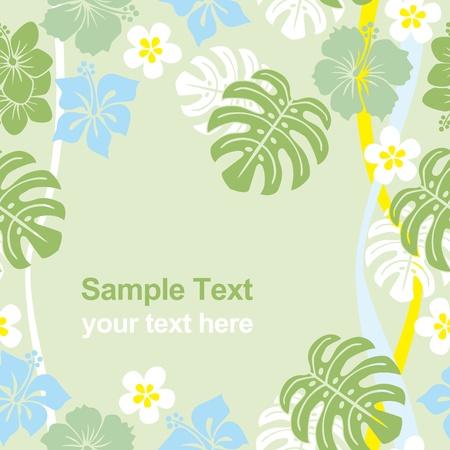Seamless tropical green frame. Vector