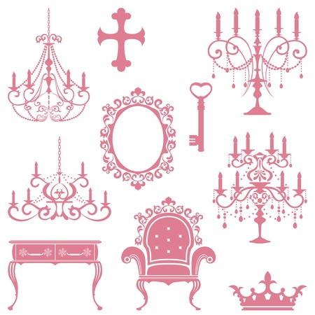 Antique design element set. Illustration vector Vector