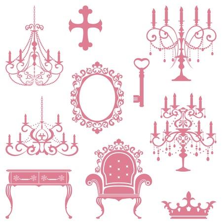Antique design element set. Illustration vector