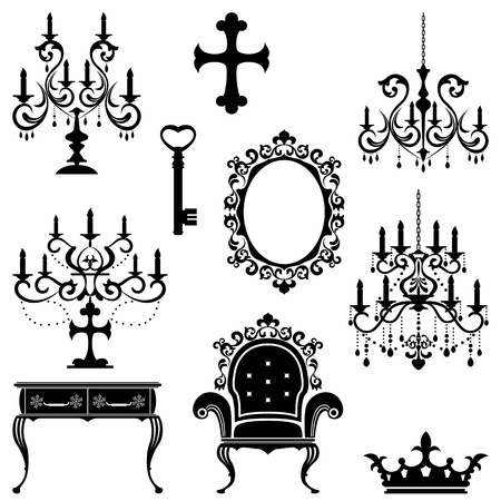 Antique design element set. Illustration vector Vector