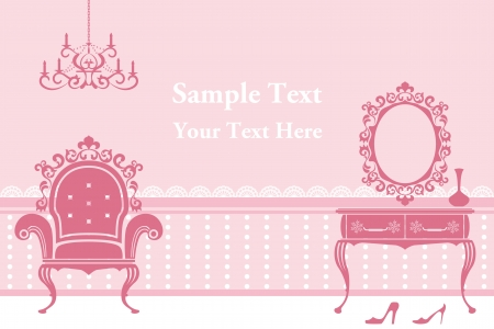 Antique pink interior. Illustration vector