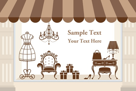 boutiques: Window display. Illustration vector