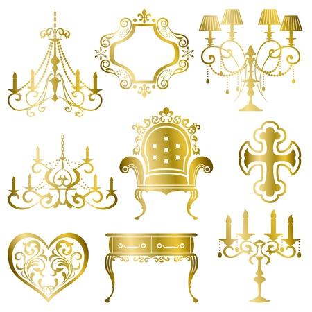 ゴールド アンティークなデザイン要素のセットです。