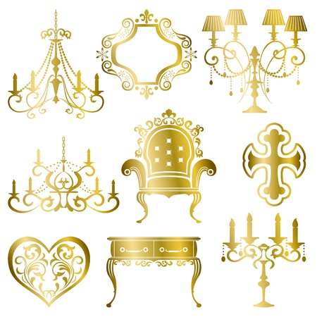 Gold antique design element set. Vector