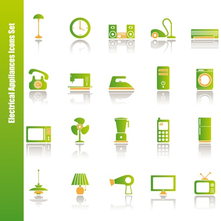 vacuuming: Electrical appliances icons set. Illustration