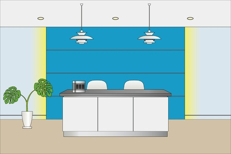 reception office: Reception counter.  Illustration