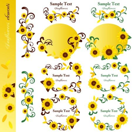 Sunflower elements set. Illustration vector. Stock Vector - 9716813