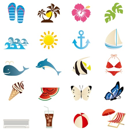 Summer icons set. Illustration vector. Vectores
