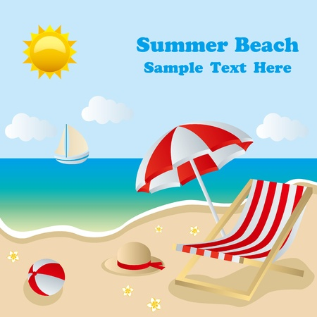 Summer beach.  向量圖像
