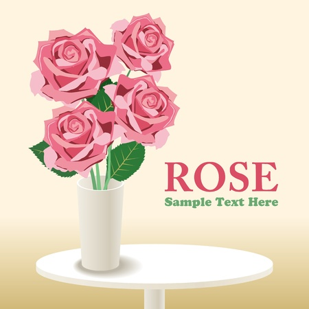 country flowers: Rose.  Illustration