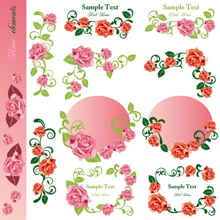 Rose design elements set.