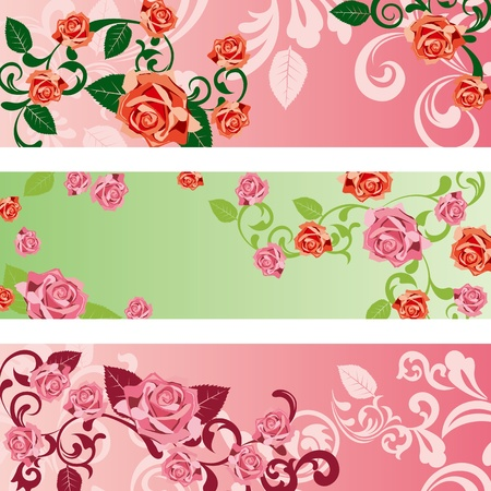 Rose banners set. Stock Vector - 9753011
