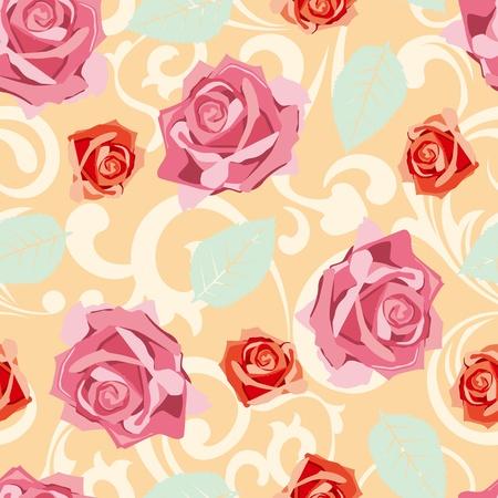 Seamless rose pattern.   イラスト・ベクター素材