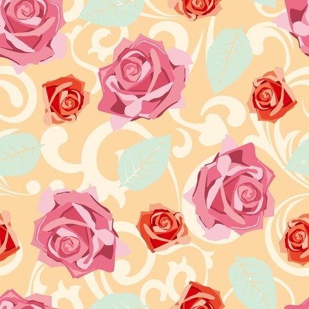 Seamless rose pattern.  Vectores