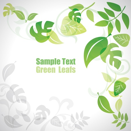 Green leafs background Stock Vector - 9862010