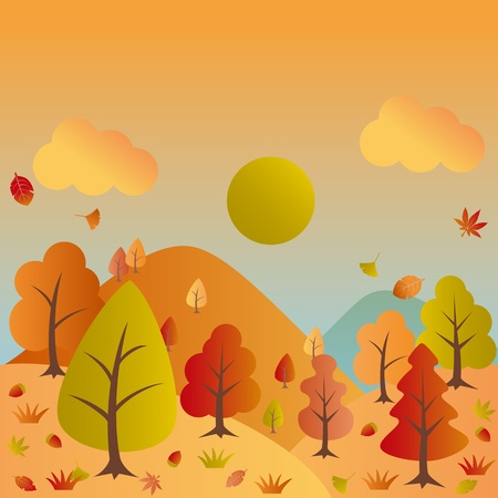fall landscape: Autumn landscape. Illustration vector.
