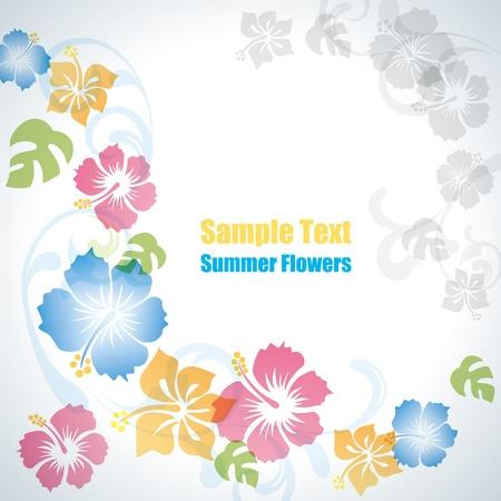 hibisco: Fondo de flores de verano. Vector de ilustraci�n. Vectores