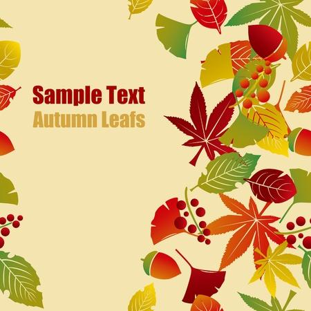 秋の葉の背景。  イラスト・ベクター素材