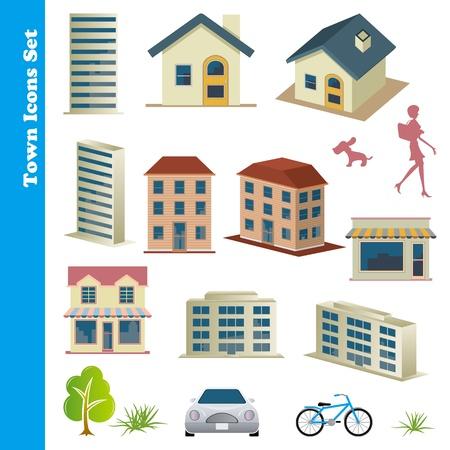 residential neighborhood: Town icons set Illustration Illustration