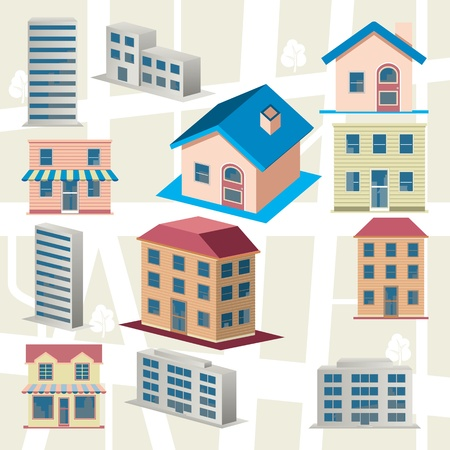 Building icons set Illustration