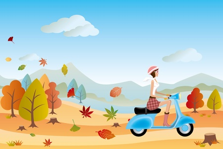 september: Autumn landscape and scooter woman.  Illustration