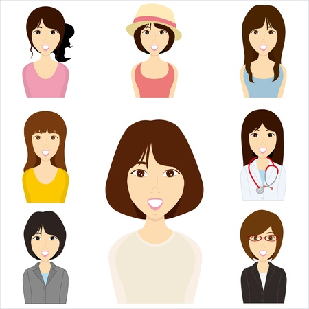 asian business woman: Women set.  Illustration
