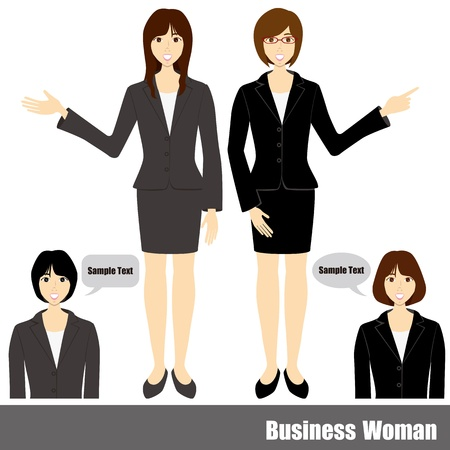 ビジネスの女性のセット。  イラスト・ベクター素材