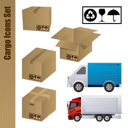 verhuis dozen: Lading icons set. Illustratie