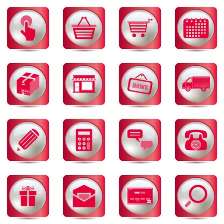 Pink shopping icons set. Illustration vector.