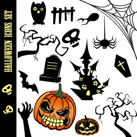 horror castle: Iconos de Halloween Set